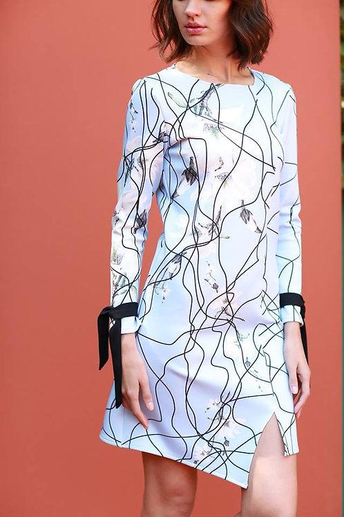 bağcık detay yırtmaçlı elbise