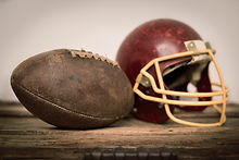 Vintage Helmet and American Football Ball