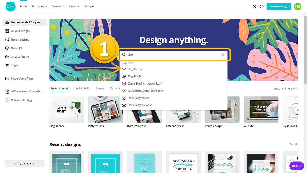 canva home page - search for blog banner