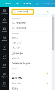 canva choosing a font
