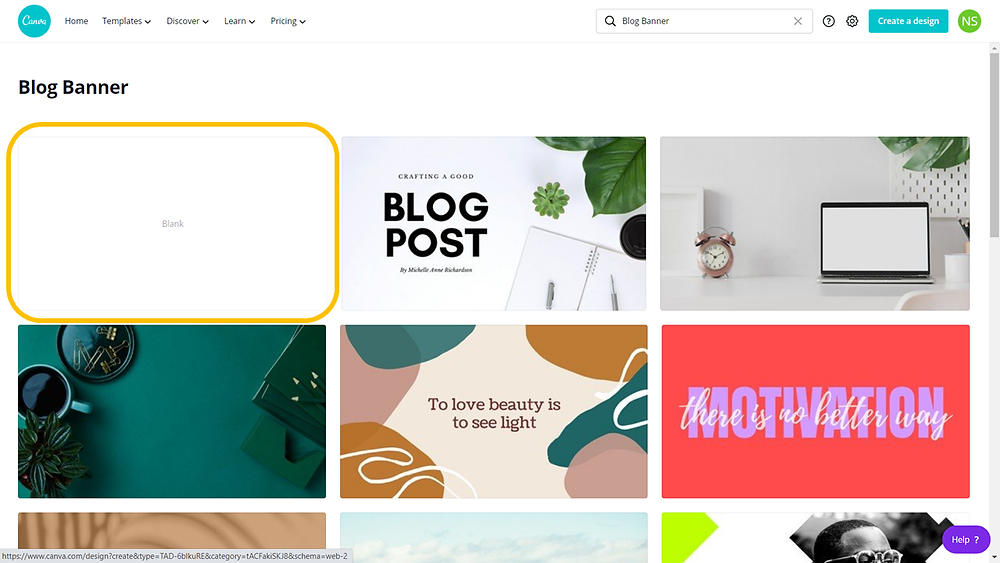canva selecting the blank blog banner template