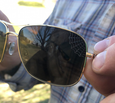 Laser engraving on sunglasses