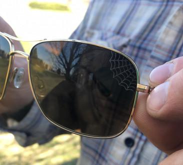 Laser engraving on sunglasses