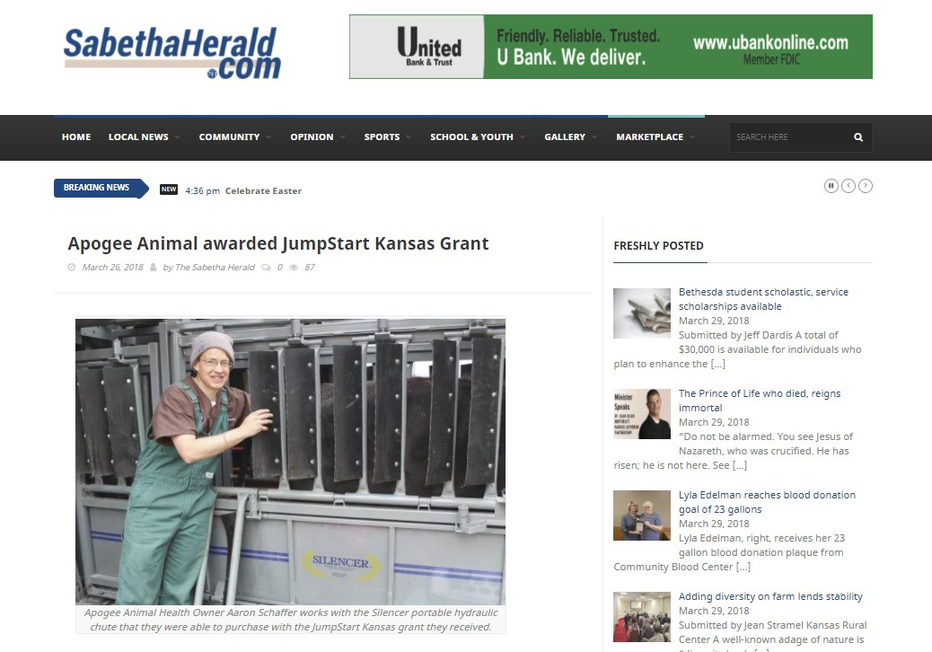 18.03.30 Sabetha Herald Grant Article
