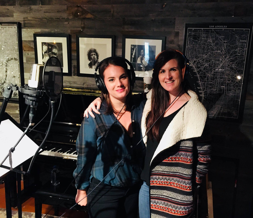 Recording session for film 'Peter Rabbit' with singer Katharine Hoye (2017)