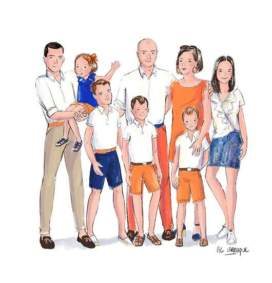 Portrait de Famille style Aquarelle