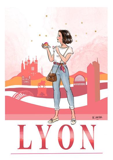Lyon - affiche, carte, totebag