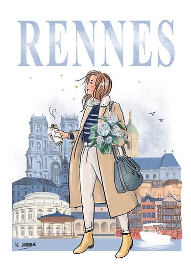 Rennes - affiche, carte postale