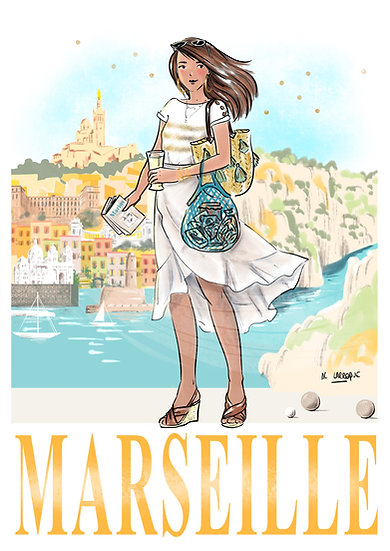 Marseille - affiche, carte, totebag