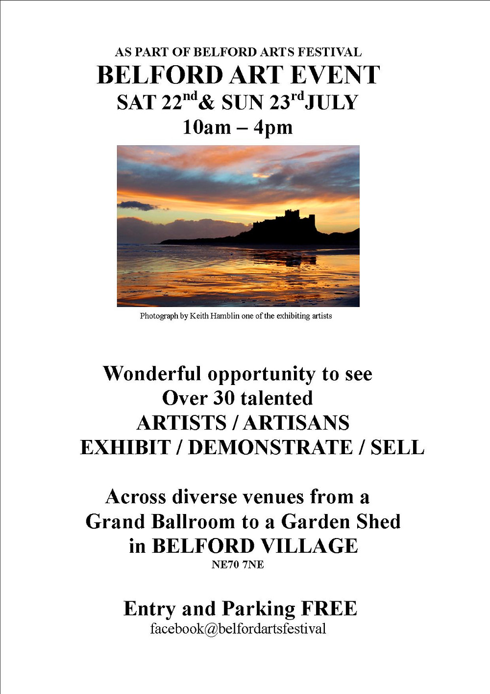 I will be exhibiting some new work here at this art festival in Belford Village. Support your local artists