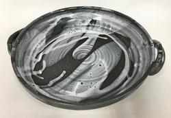 gray and white deep dish