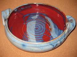 red & blue casserole dish