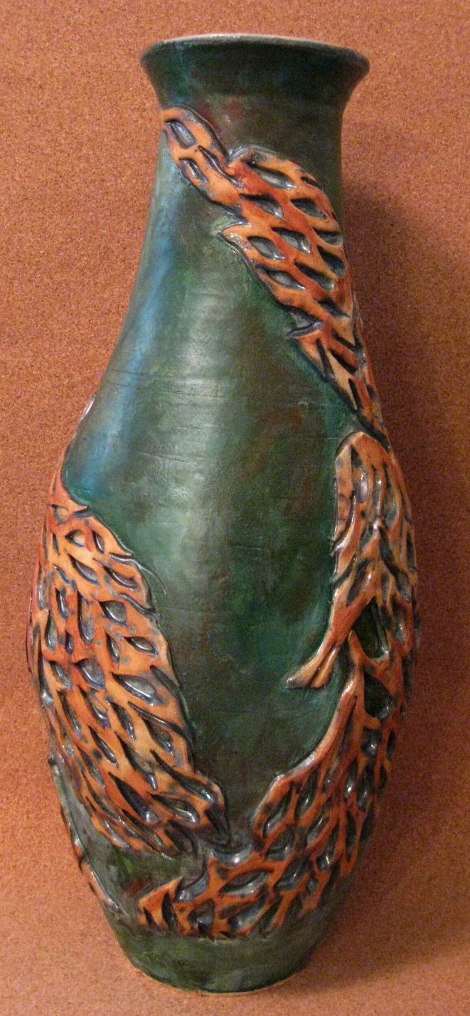 tall applique vase