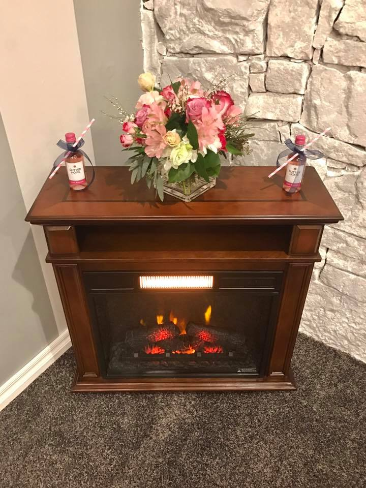 bridal room fireplace