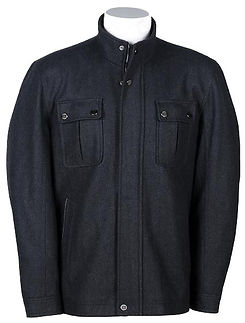 Mens Wool-Blend Standing-Collar Jacket