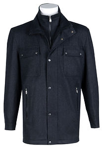 Mens Wool-Blend Double-Collar Zip Jacket