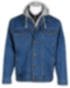 Mens Denim Jacket with Inserted Fleece Hood