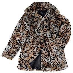 Ladies Leopard-Print Faux Fur Coat