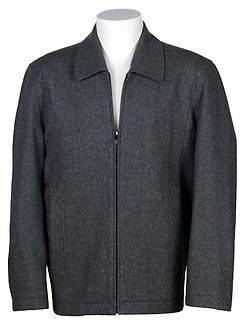 Mens Wool-Blend Straight Bottom Zip Jacket