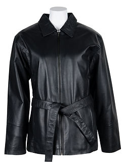 Ladies Belted Leather Button Coat