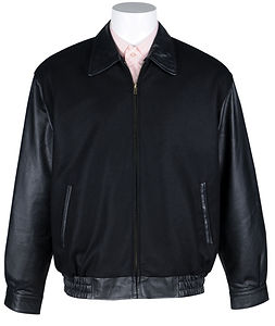 Mens Wool-Blend Zip-Front Varsity Jacket with Leather Sleeves