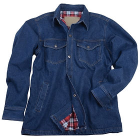 Mens Flannel-Lined Denim Shirt Jacket