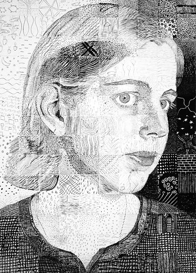 Self Portrait in pen and ink, Jessica Parsos Lomeli