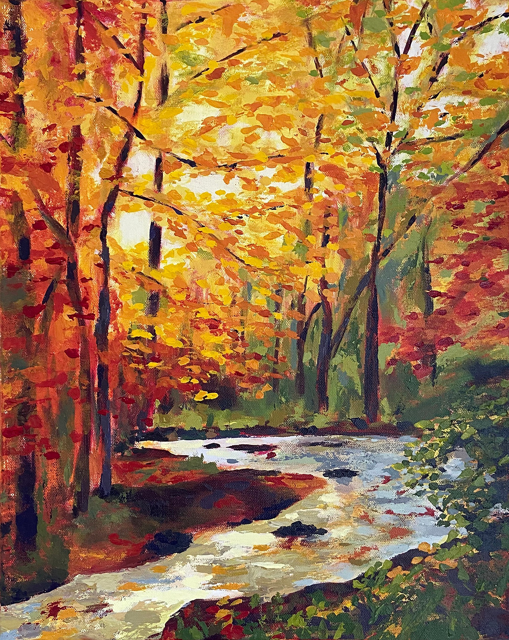 landscape painting of bright light and fall foliage