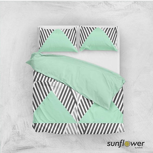 Mint Diagonal triangle Duvet Cover set