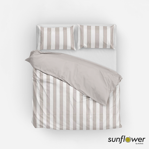 White and Beige Canopy stripes Duvet Cover set