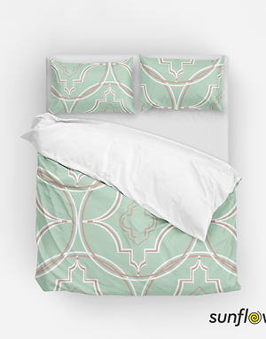 Geometric Full Size Duvet Set (Dusty Blue)