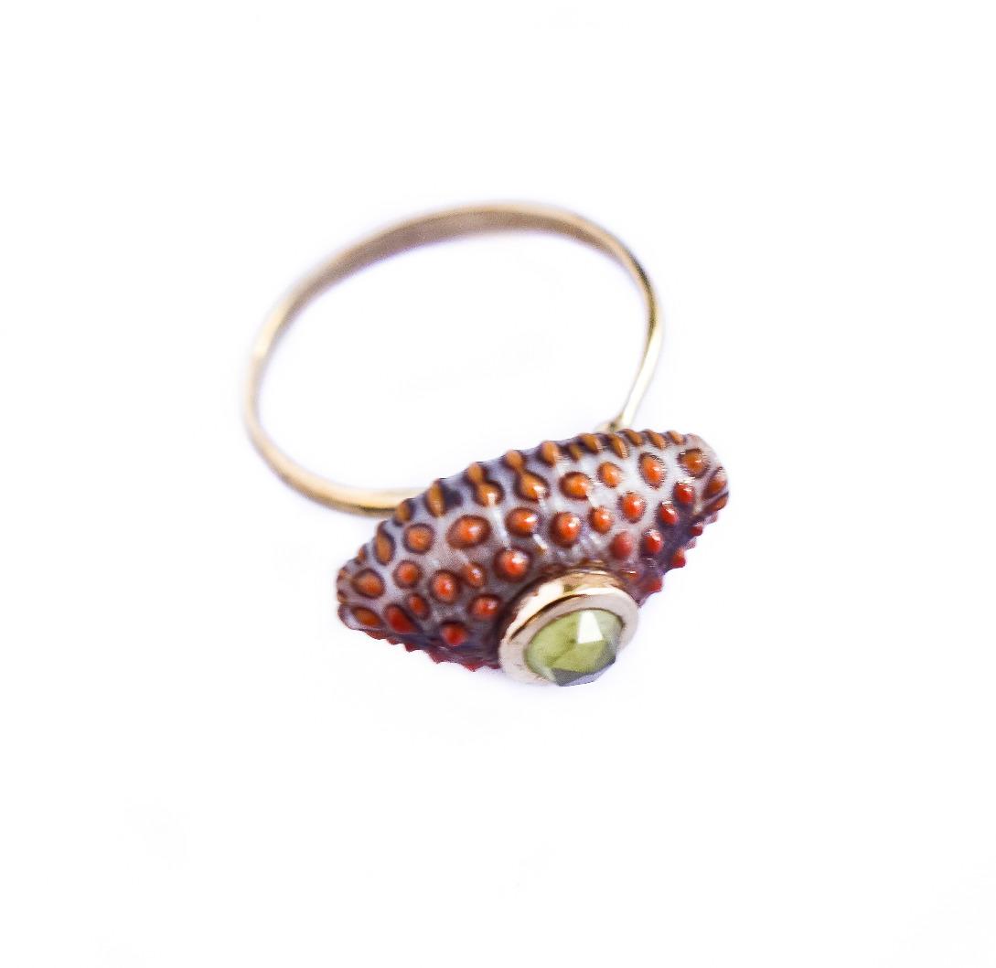 Byzantine Polka ring - Green garnet