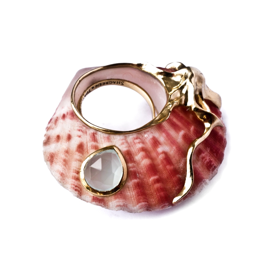Pink Coral ring - Blue Chalcedony