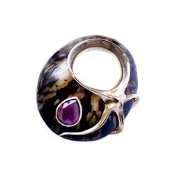 Smoky Tortoise ring - Amethyst
