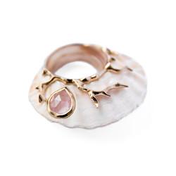 Rosy Gypsum ring - Rose Quartz