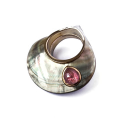 Silver Pearl ring - Tourmaline