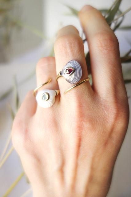 Blue & White Venus Coil rings