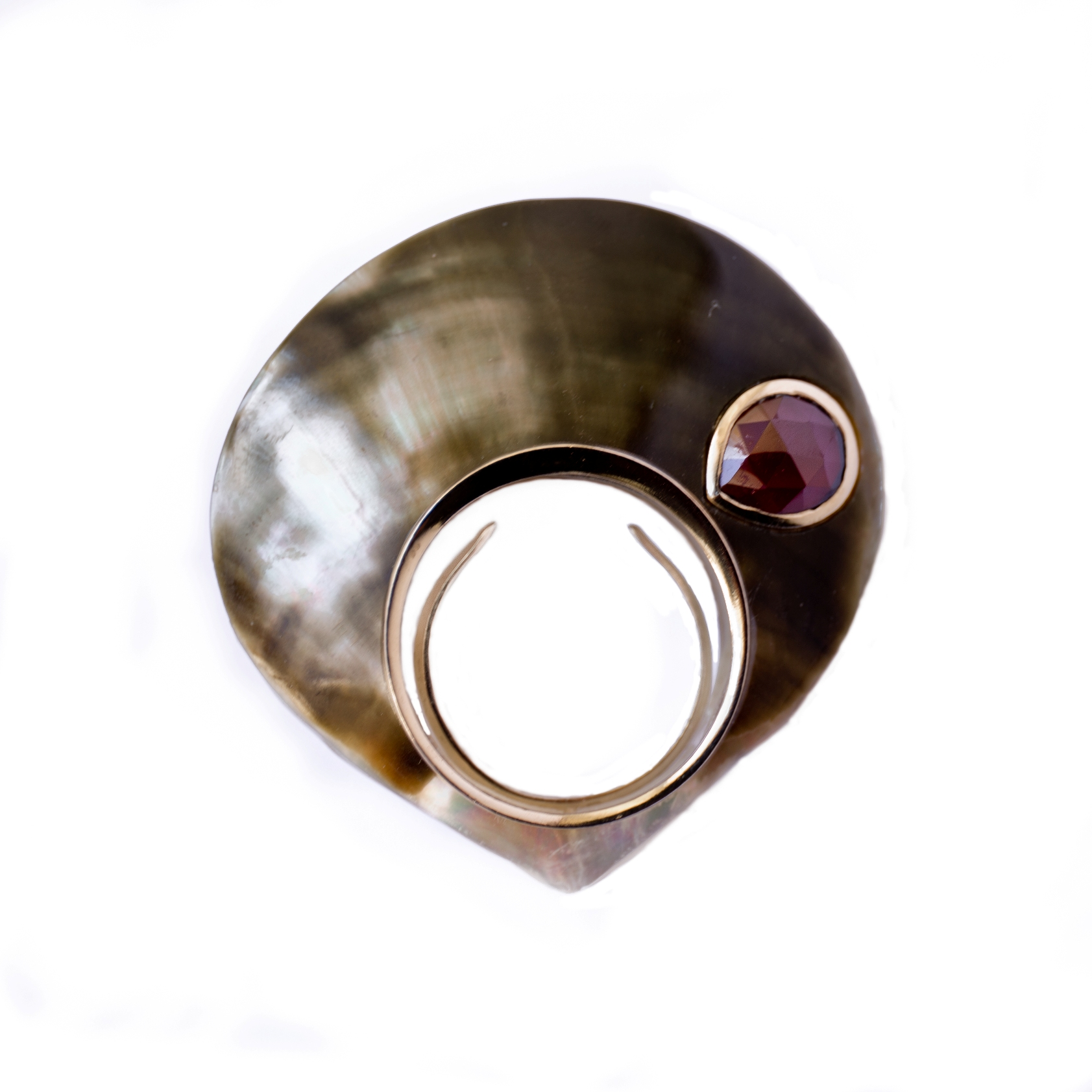 Black Pearl Ring - Garnet
