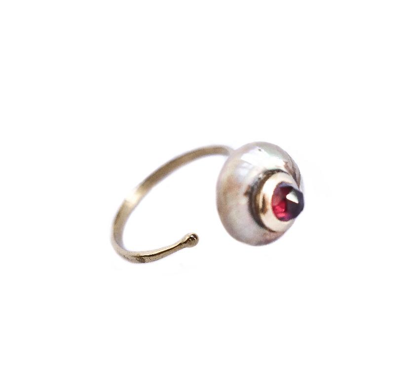 Byzantine Pearl ring - Garnet