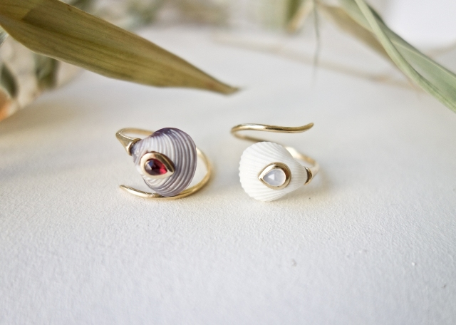 Blue and White Venus coil rings