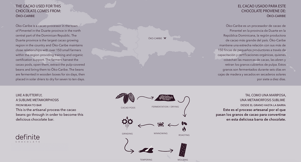 Image shows map of where of chocolate comes from, OKO CARIBE
