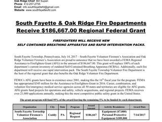 Two South Fayette Fire Departments Receive $186,667.00 Regional Federal Grant