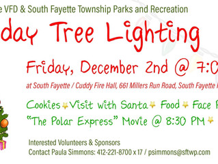 Holiday Tree Lighting Friday Dec 2nd @ 7:00PM