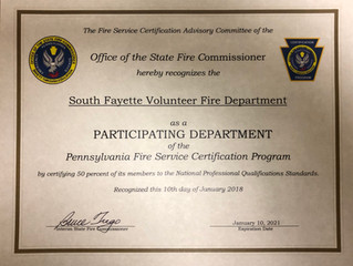 SFVFD Recognized by State Fire Commisioner at 50% level
