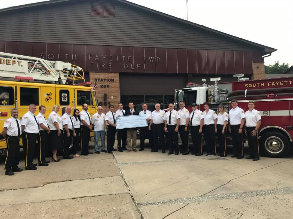 Left To Right: South Fayette VFD Engineer Tom Thomas, Captain Ted Wolford, FF Mike Katruska, FF Tina Wolford, FF Pat Walker, FF Sarah Walker, Lieutenant Jarett Frank, Life Member Ted Mitchell, Lieutenant Mark Mitchell, Deputy Chief Eric Lazzini, Congressman Tim Murphy, Assistant Chief Charles Lazzini, Chief Joe Janocha, Oak Ridge VFD Chief Bill Supan, Assistant Chief John Olszewski, Lieutenant Kevin Sperring, FF Megan Sperring, FF Teri Ann Webster Martineck, FF Riley Supan, and FF BJ Supan