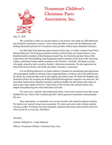 Thank you letter to all volunteers.