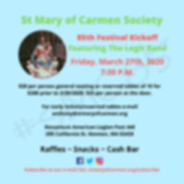 St Mary of Carmen Society 85th Festival Kickoff