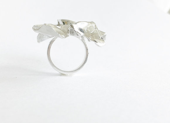 ring . SILVER FABRIC . statement ring