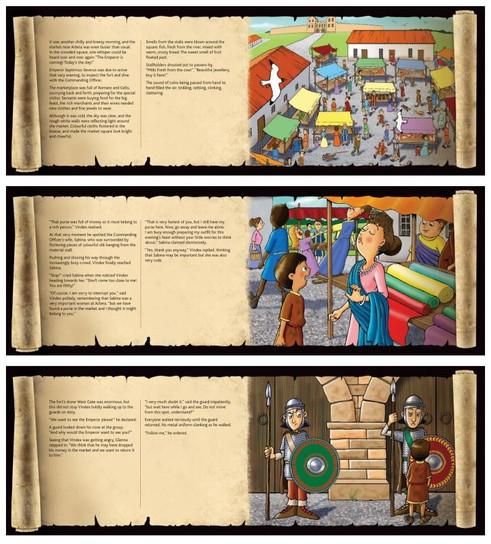 Mystery at the Market interior illustration samples.