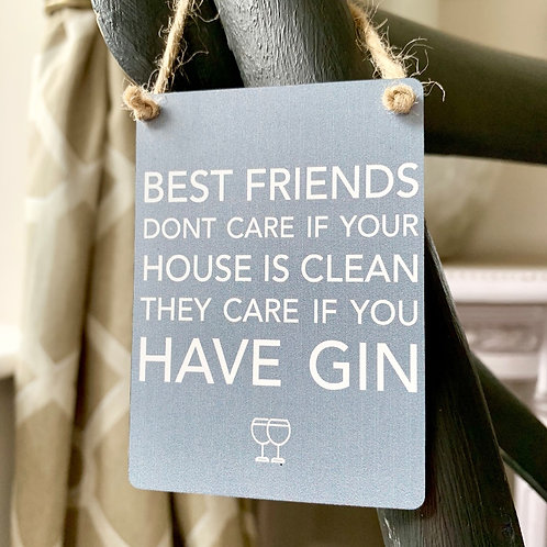 Mini Metal Sign - Best Friends Gin